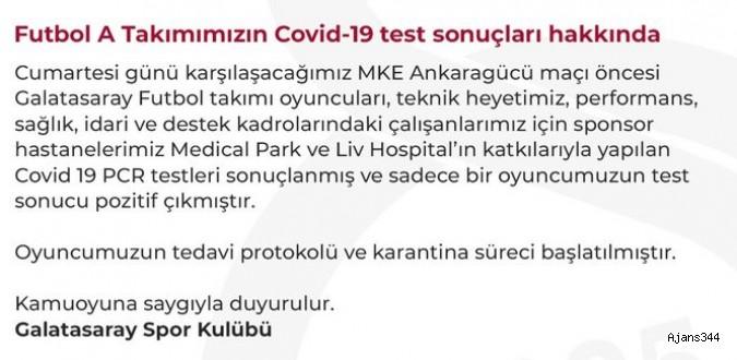 Galatasaray'da bir oyuncunun virüs testi pozitif