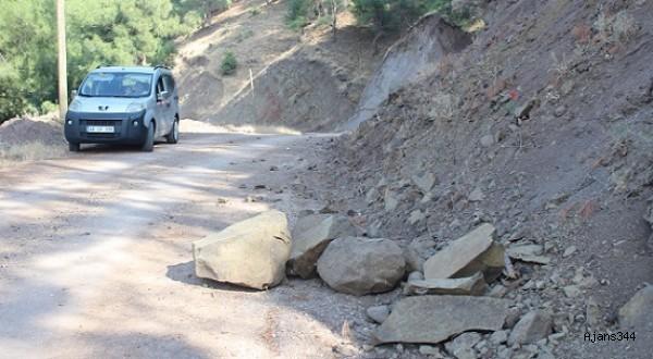 Yola düşen taşlar tehlike saçıyor